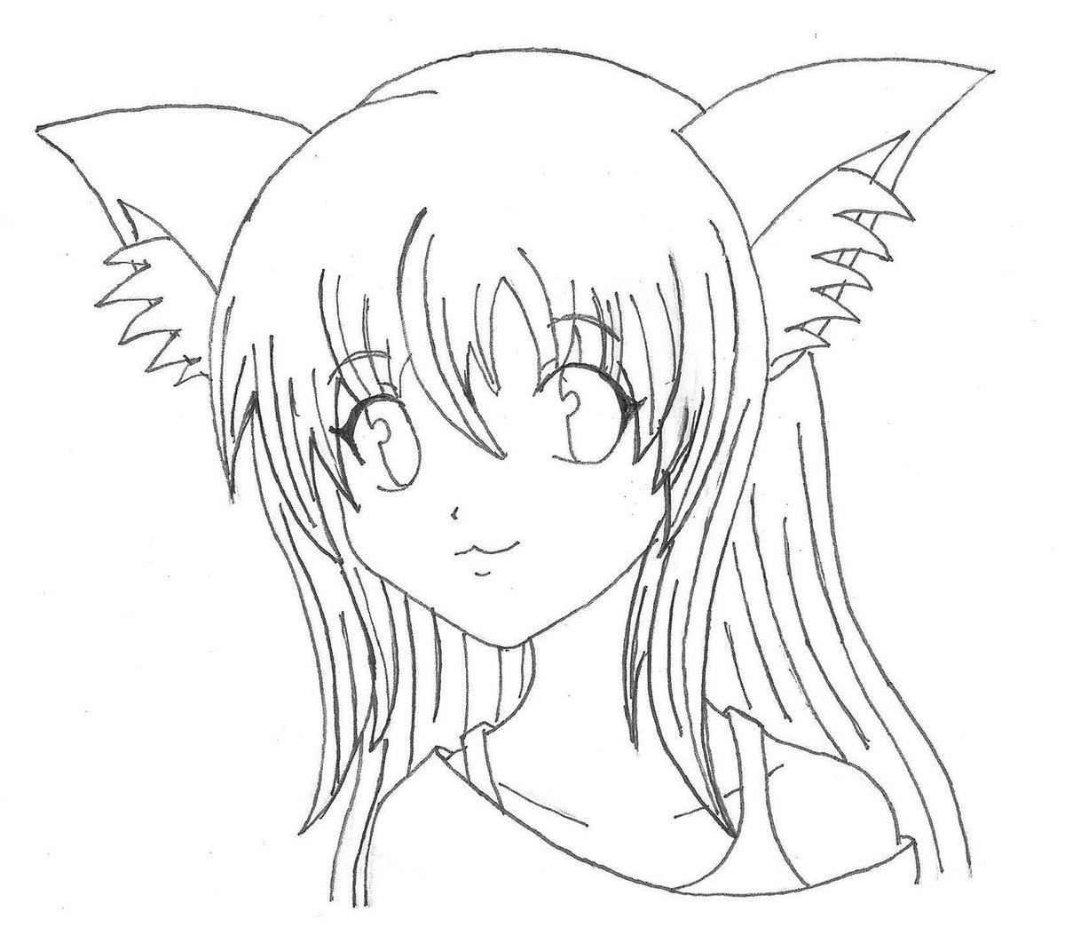 Картинки аниме девушки с ушками кошки раскраска