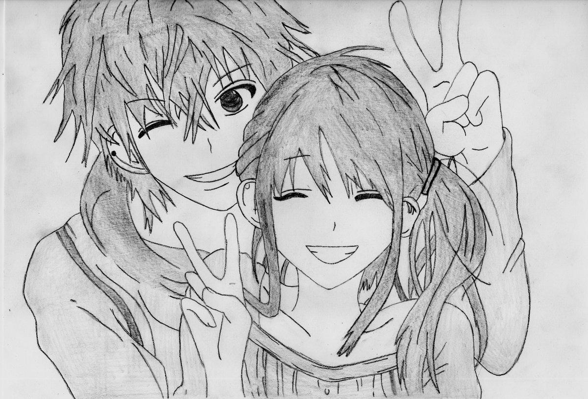 Картинки карандашом аниме любовь