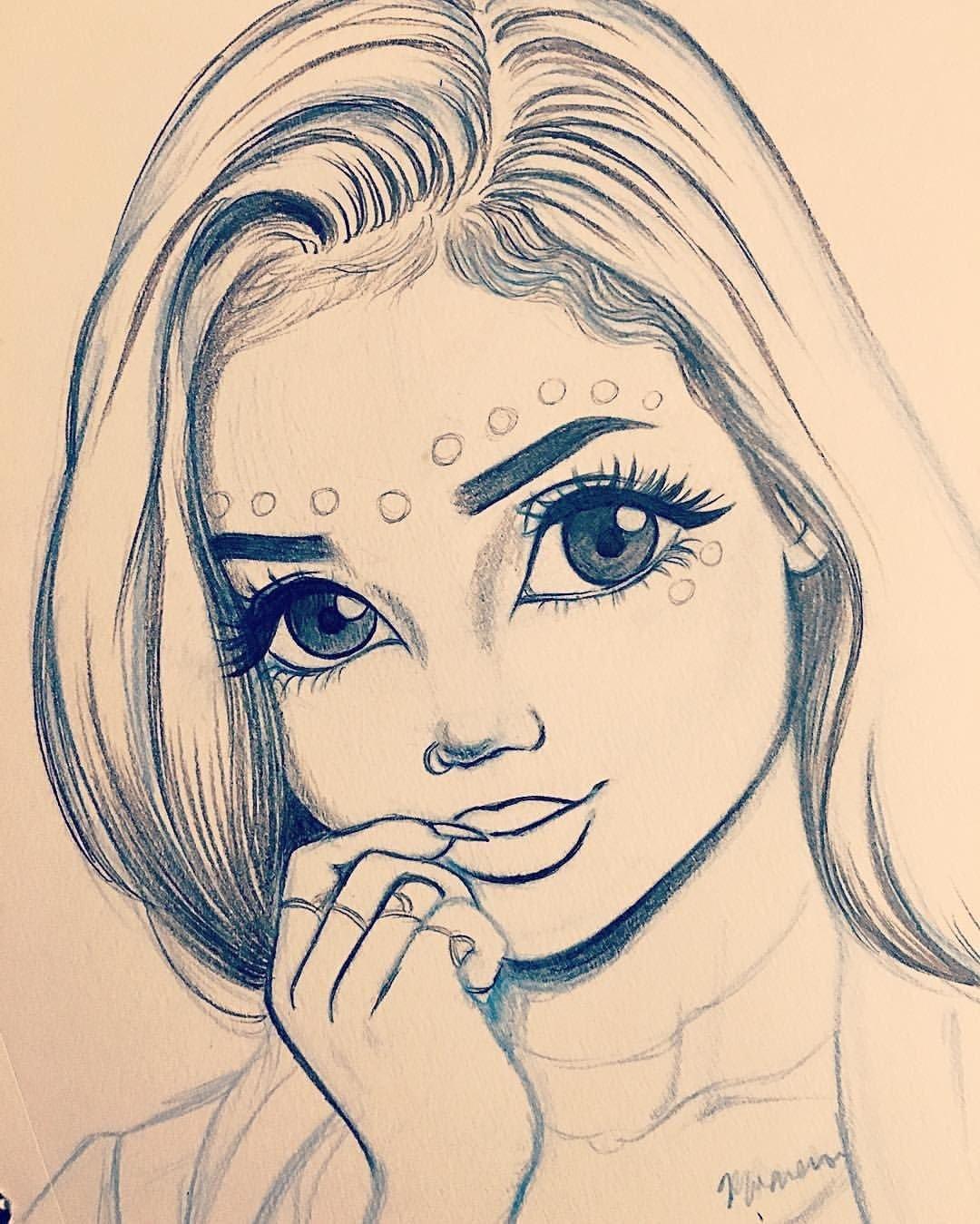 Картинка красивой девочки карандашом