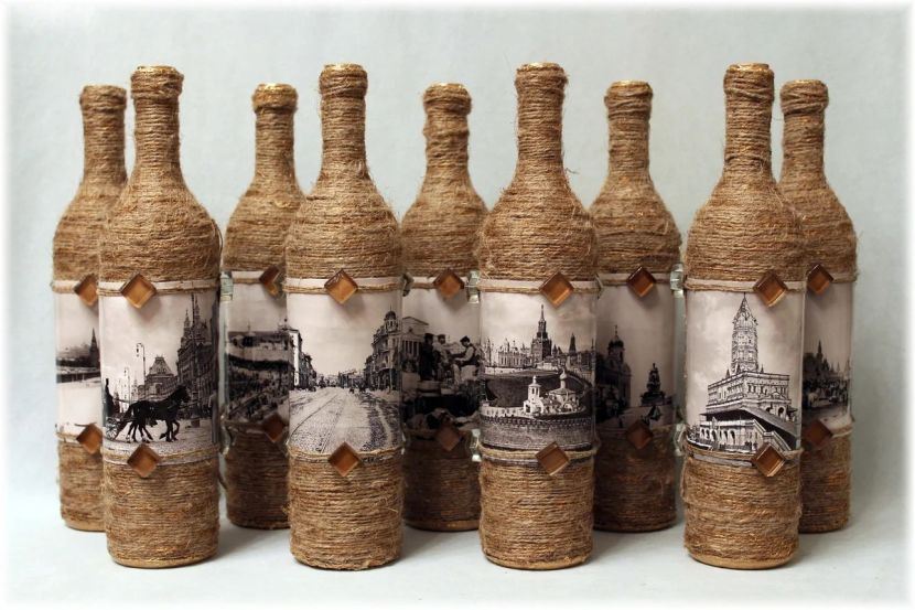 Декупаж бутылок (58 фото) - пошаговый мастер-класс для начинающих