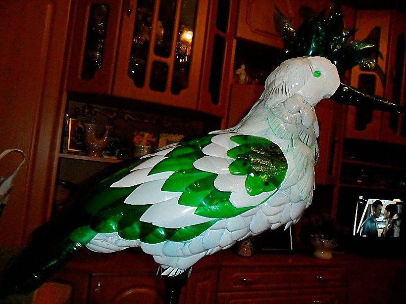 птицы из пластиковых бутылок мастер класс рисунков изделиях