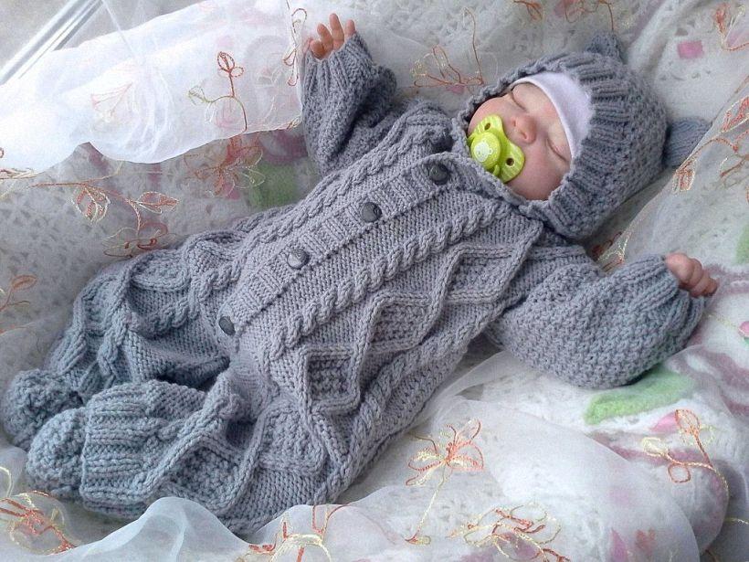 вязаные комбинезоны для новорожденных спицами описание и схемы для