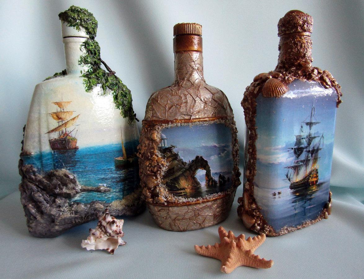 Объемный декупаж на стекле в морской тематике